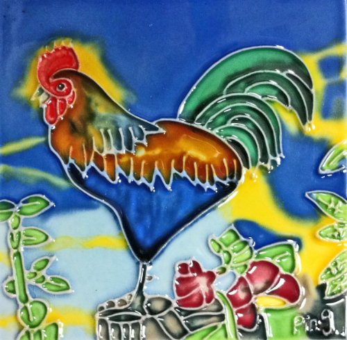 Continental Art Center SD-027 4 by 4-Inch Rooster No.1 Ceramic Art Tile