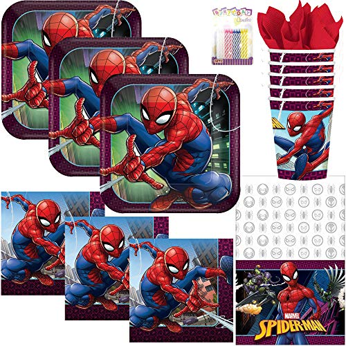 Spiderman Party Supplies Pack Serves 16: Dinner Plates, Luncheon Napkins, Cups, Table Cover, and Birthday Candles -