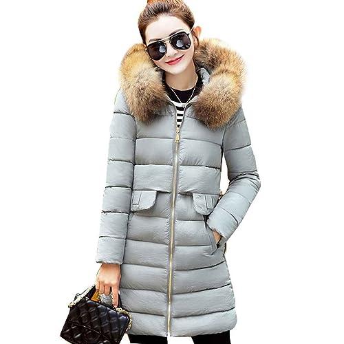Masterein Mujeres cuello de piel grande abrigo de algodón caliente abrigo largo de cremallera chaque...
