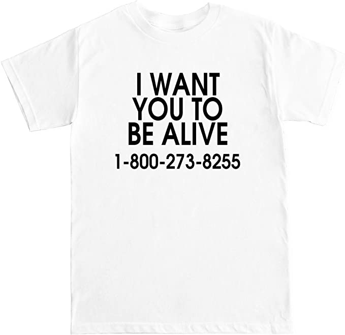 FTD Apparel Mens I Want You to be Alive 1-800-273-8255 T Shirt