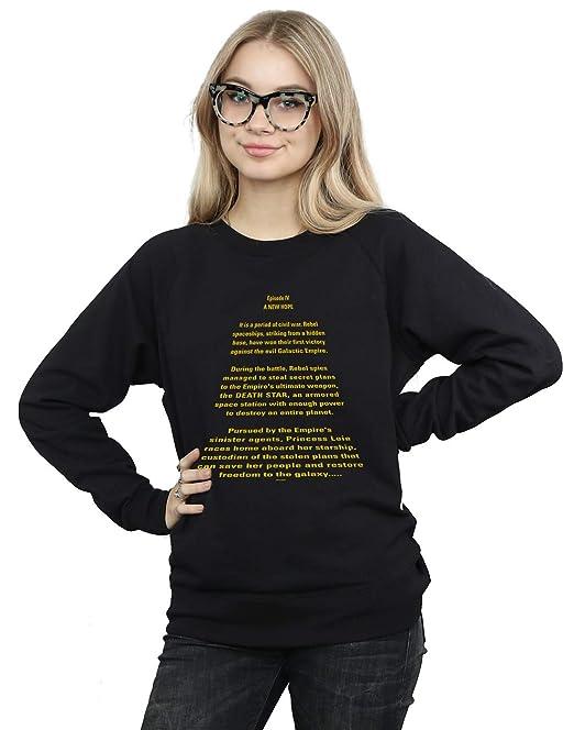 Star Wars Mujer A New Hope Opening Crawl Camisa De Entrenamiento: Amazon.es: Ropa y accesorios