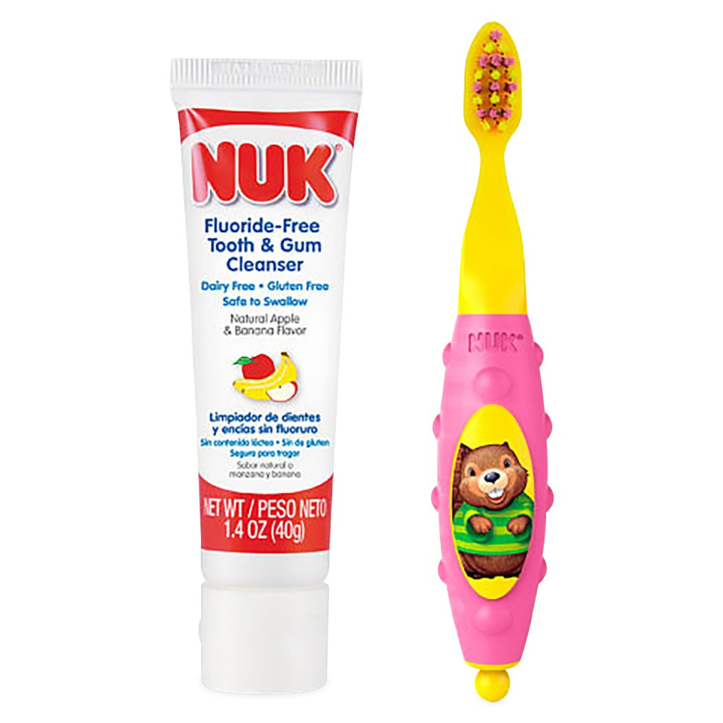 Amazon.com : NUK Toddler Tooth and Gum Cleanser with 1.4 Ounce Toothpaste, Pink : Baby