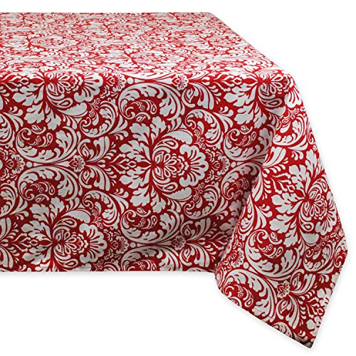 "DII Cotton Tablecloth for for Dinner Parties, Weddings & Everyday Use, 60x84"", Damask Red"