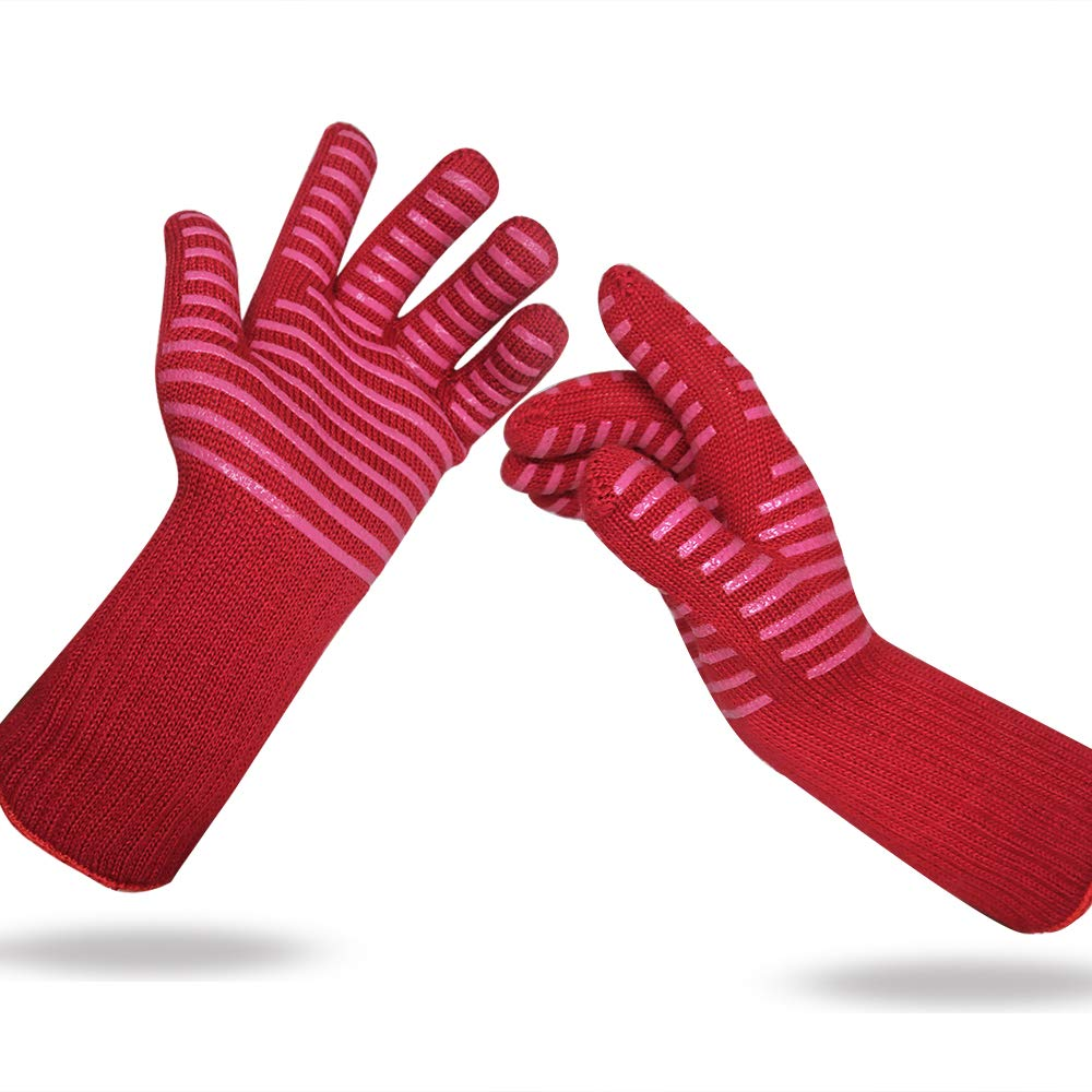 BBQ Gloves Grill Cooking Heat Resistant - BBQ Accessories Silicone Oven Pit Mitts - 1 Pairs - hot pad Gloves for Men and Women, Large (13'', red+red)