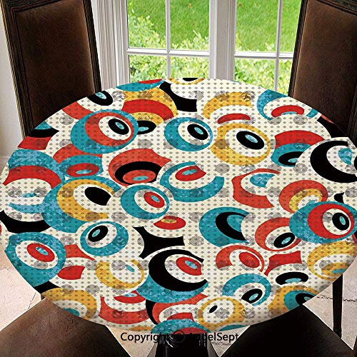 - Elastic Edged Round Tablecloth Retro Theme Circle Pattern Evil Eyes Design Techno Trance Design Art Print for Thanksgiving, Catering Events, Dinner Parties, Special Occasions or Everyday Use, 55