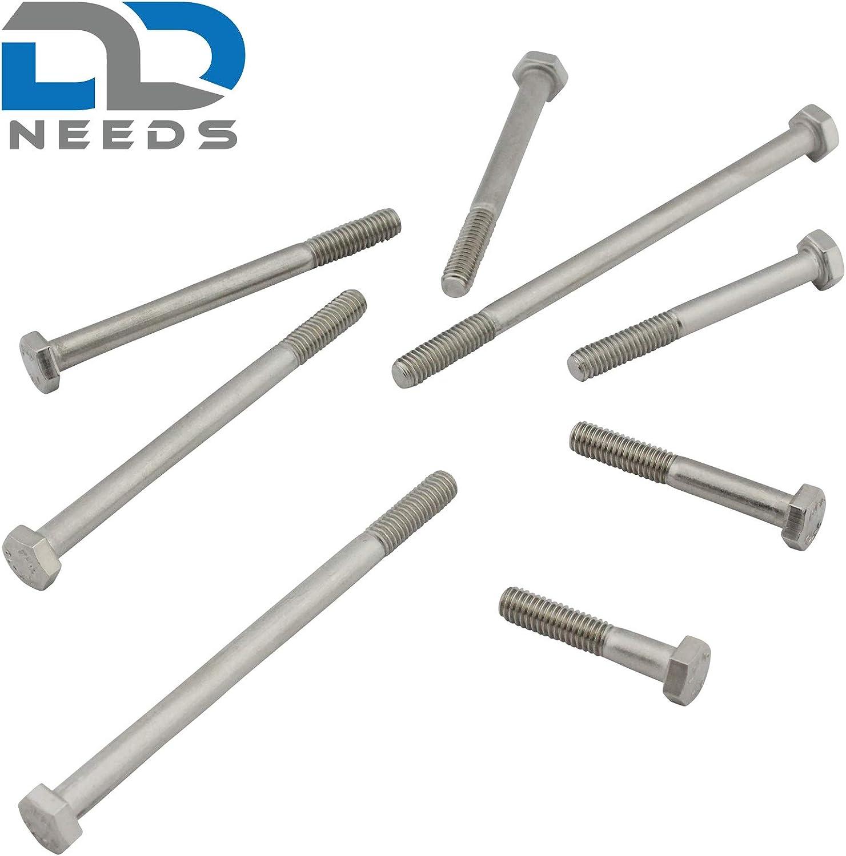 Lot de 4 vis /à t/ête hexagonale avec tige DIN 931 ISO 4014 en acier inoxydable A2 V2A