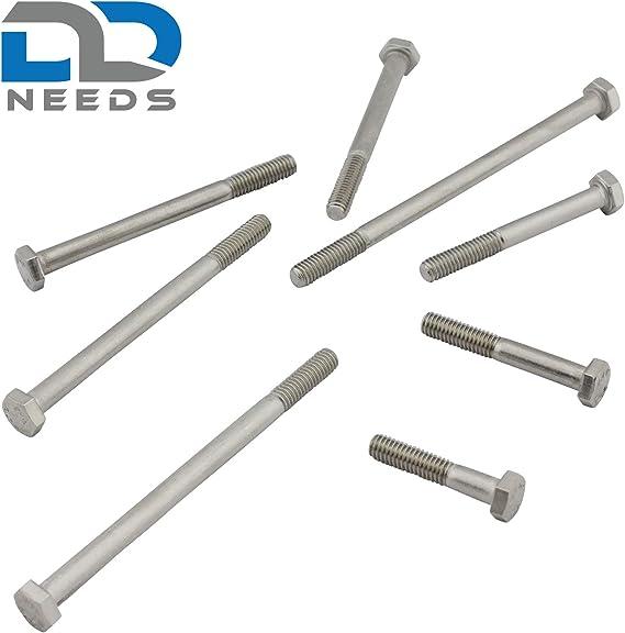 V2A Viti a testa esagonale con gambo DIN 931//ISO 4014 in acciaio inox A2 10 pezzi .