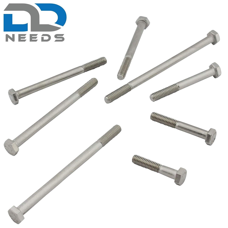 V2A . Viti a testa esagonale con gambo DIN 931//ISO 4014 in acciaio inox A2 10 pezzi