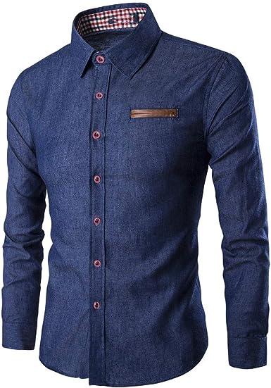 U/A hombres bolsillos y cuero algodón manga larga camisa ...