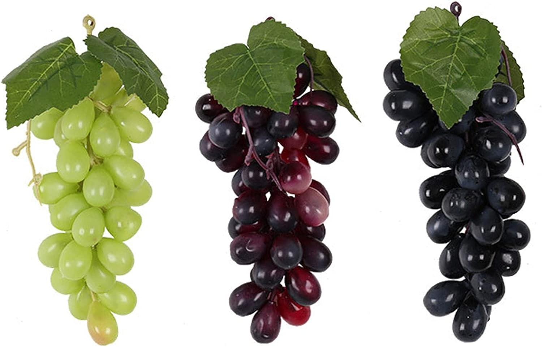 MOOVGTP 6 uvas artificiales, racimos de uva de simulación, racimos de frutas decorativas, adornos para decoración de hogar y jardín