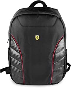 "Ferrari Computer Backpack Pit Stop Collection Scuderia 15"" Nylon PU Carbon Dual Compartment for 15.6"" MacBook Pro Bag and a Slim-Fit pocket for an iPad, iPad Mini, or tablet up to 10.1'' (Black)"