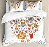Ambesonne Movie Theater King Size Duvet Cover Set, Cinema Attribute Love Retro Icons Collection in the Shape of a Heart Colorful, Decorative 3 Piece Bedding Set with 2 Pillow Shams, Multicolor