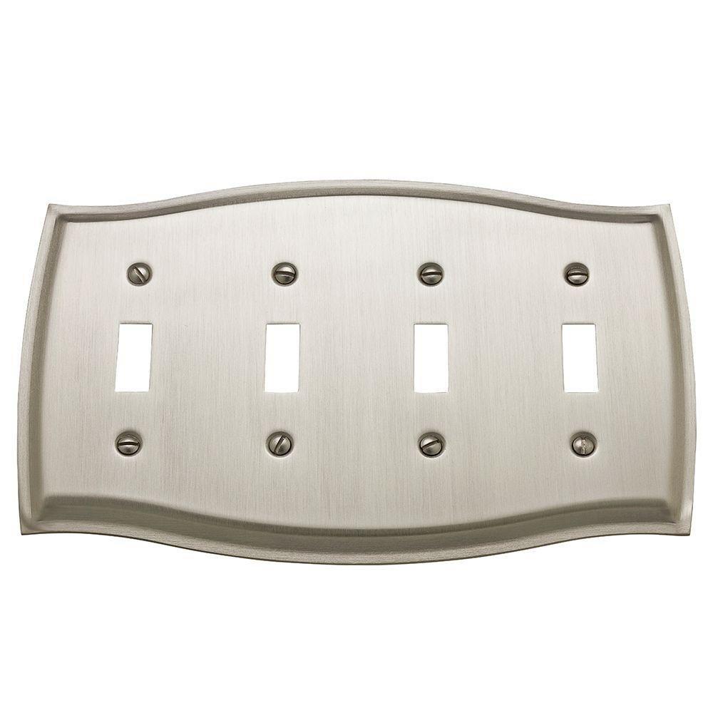 Baldwin 4782.150.CD Colonial Design Quad Toggle Switch Plate, Satin Nickel