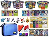 Totem World Pokemon Premium Collection 100 Cards with GX Mega EX Shining Holo 10 Rares 4 Booster Pack - 100 Sleeves - Blue Card Case - Deck Box and Figure