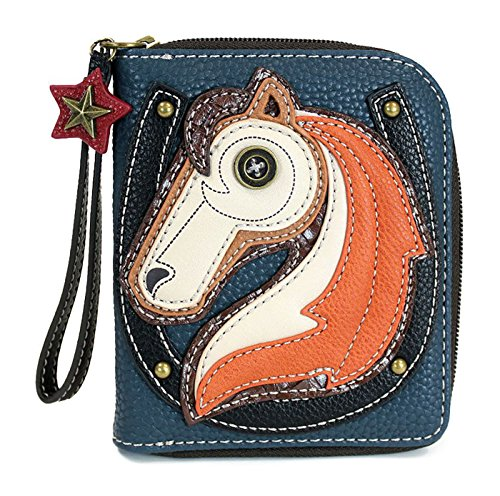 CHALA Zip Around Wallet, Wristlet, 8 Credit Card Slots, Sturdy Pu Leather - Horse - Blue from CHALA