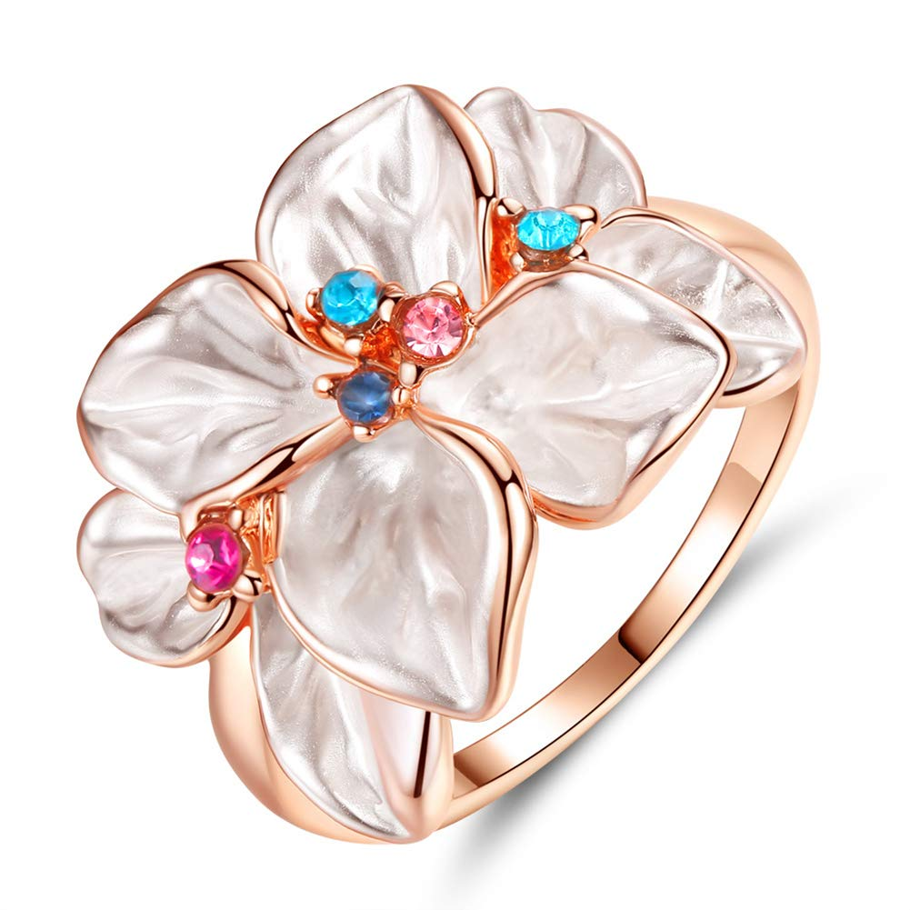 Slendima Petal Shape Faux Crystal Ring Women Cocktail Party Banquet Fashion Jewelry Gift Rose Gold US 9