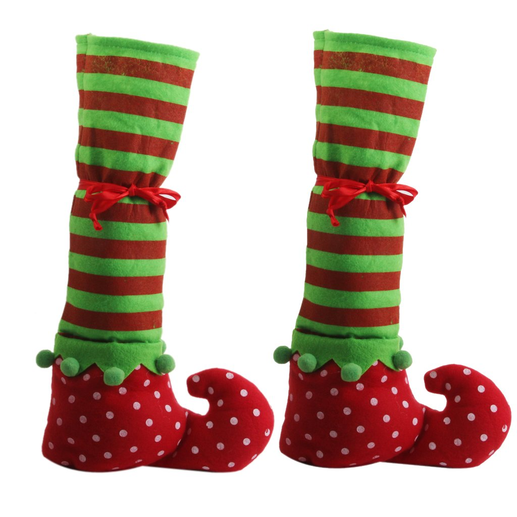 1 Pair Christmas Table Leg Covers Elf Elves Feet Shoes Legs Party Decorations Generic