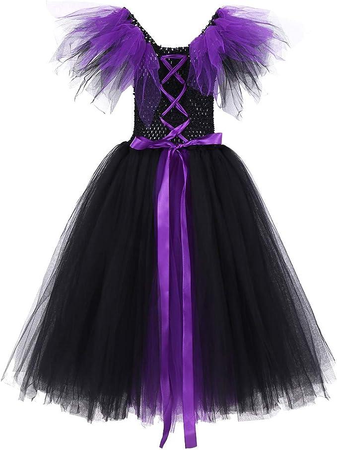 CHICTRY Disfraz Bruja Vampiresa Niña Infantil Vestido de Princesa ...