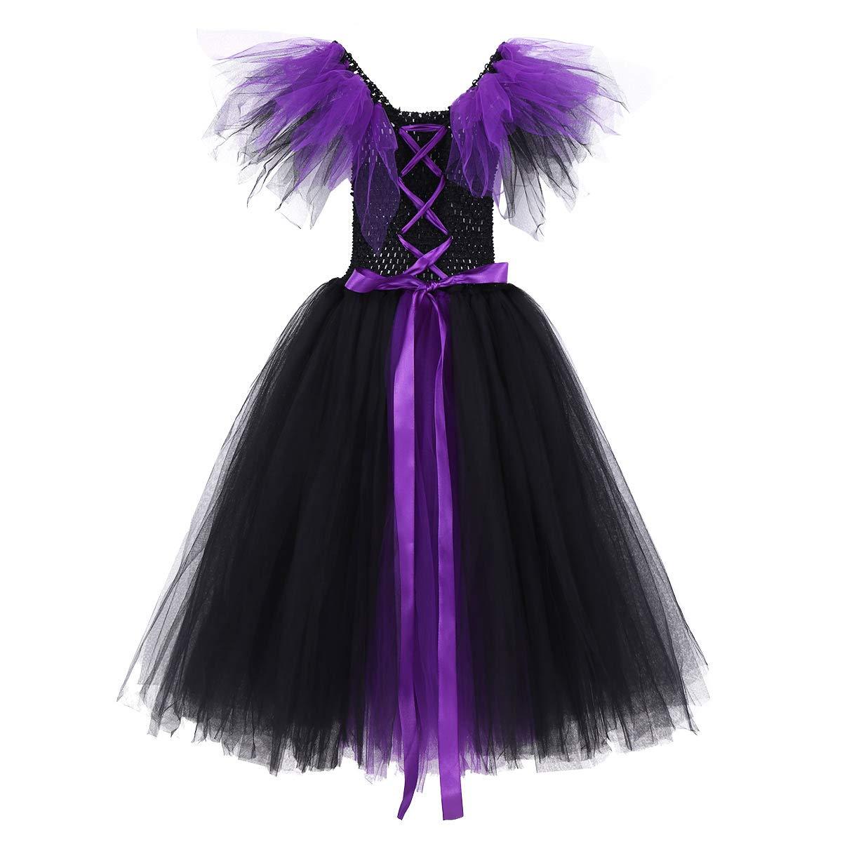 iiniim Disfraz Bruja Vampiresa Ni/ña Infantil Vestido con Lazada Princesa Tut/ú Tul Cosplay Costume de Halloween Fiesta Party Carnaval Ropa de Actuaci/ón para Ni/ñas 4-12 A/ños