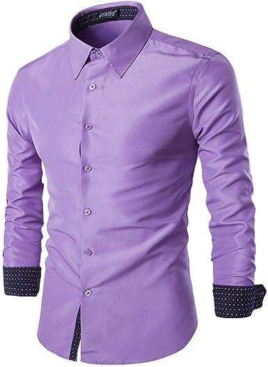 Camisa Casual Hombre Manga Larga de Vestir Luz Púrpura 2XL: Amazon.es: Ropa y accesorios