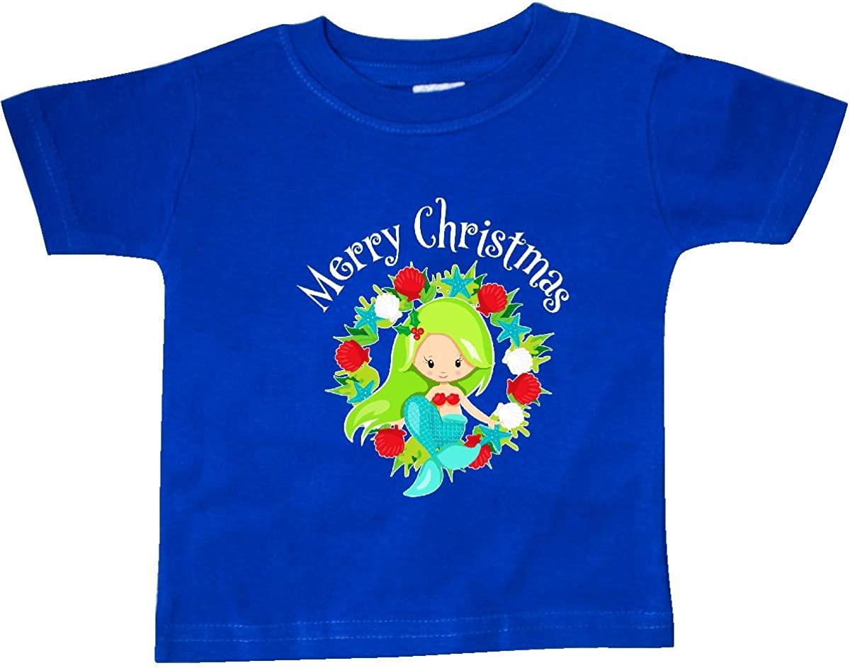 inktastic Merry Christmas Mermaid with Green Hair in Seashell Baby T-Shirt