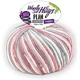 Woolly Hugs Plan Fb. 81, 100g Merinowolle extrafein mit Baumwolle zum Stricken und Häkeln, geeigent für planned pooling Technik