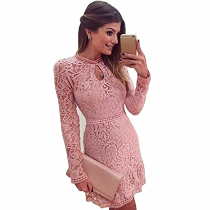 Women Dress,Neartime Pink Hollow Lace Long Sleeve Slim Dress Party Evening Dresses (M