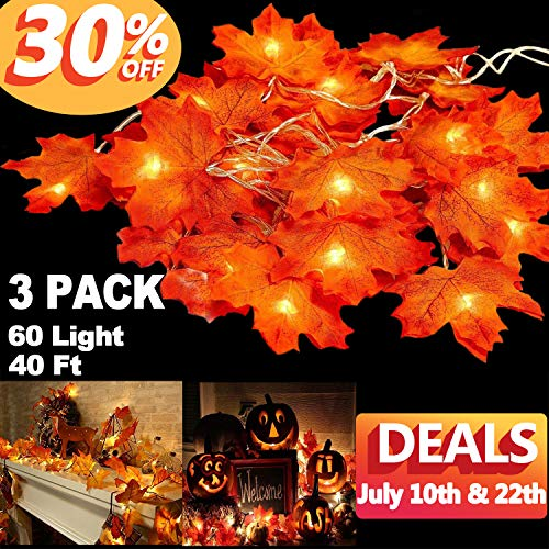 3 Pack Fall Maple String Light,Total 30Ft / 60 LED Lights Garland Wreath Decorations for Party Halloween Thanksgiving Christmas Festival Decor Indoor Home Outdoor Garden Patio Gift 3AA Battery Powered