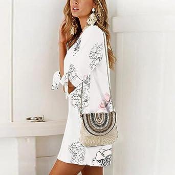 YKA 2018 New Long Floral Print Chiffon Half Sleeve Loose Striaght Casual Dress - White - Small: Amazon.co.uk: Clothing