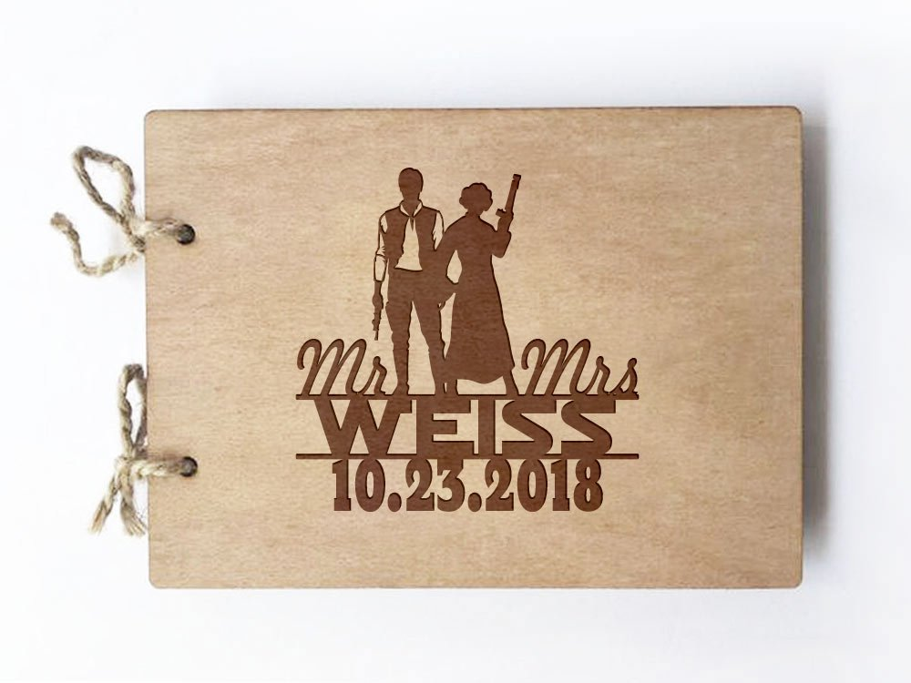 Wedding Guest Book - Wood Notebook - Star Wars - Hans Solo - I love you I know