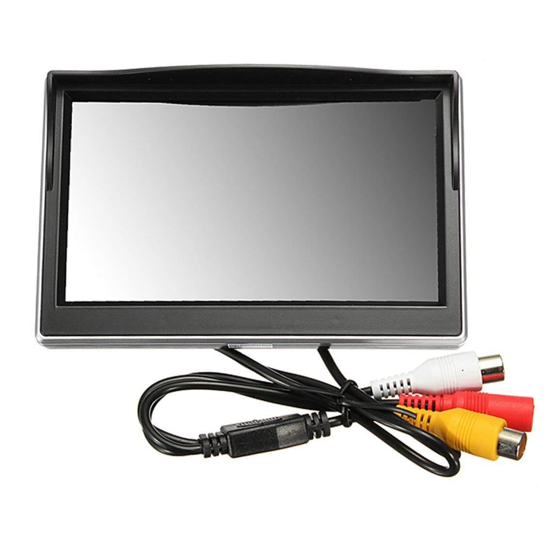 Footprintse Monitor per Auto da 5 Pollici TFT LCD HD Digitale 5 Nero 3 800 480 Schermo Display Vista Posteriore Backup Specchio retrovisore Monitor-Colore