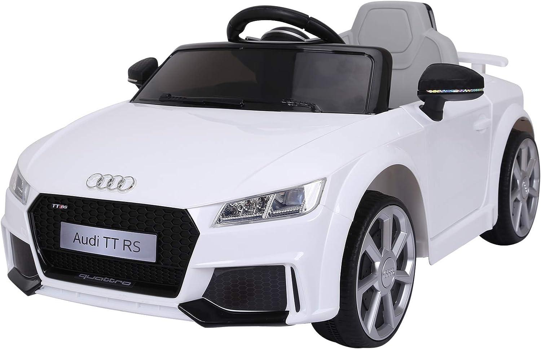 HOMCOM Audi TT Eléctrico Infantil Coche Juguete Niño 3 Años+ con Mando a Distancia con Música y Luces Modos de Aprendizaje Batería 6V Doble Apertura de Puerta Carga 30kg 103x63x44cm Color Blanco