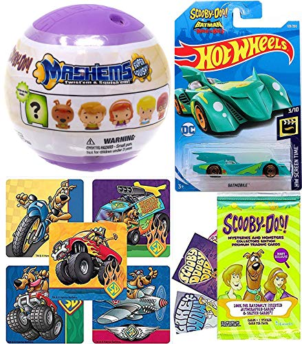 Hot Wheels Soft Scooby-Doo Pop Car Collection bat Mobile Brave & Bold Bundled with Mash'em Character Figure + Cards & Stickers Collectible 3 Items