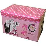 FunkyBuys® Large Kids SWEET PRINCESS Large Storage Box Books Toy Stool Chest Children Fun Seat