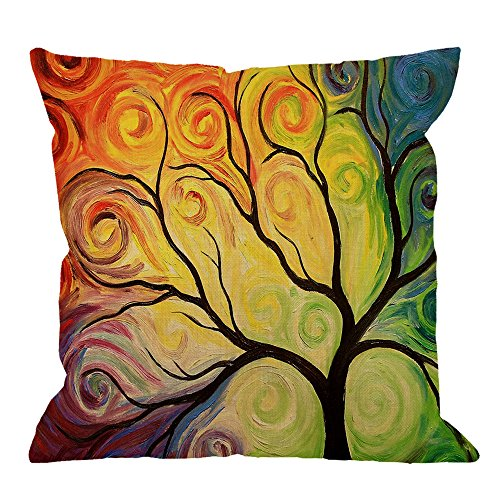 - HGOD DESIGNS Tree Throw Pillow Case,Tree of Life Art Painting Cotton Linen Cushion Cover Square Standard Home/Sofa Decorative for Men/Women 18x18 inch Yellow Red Blue Brown