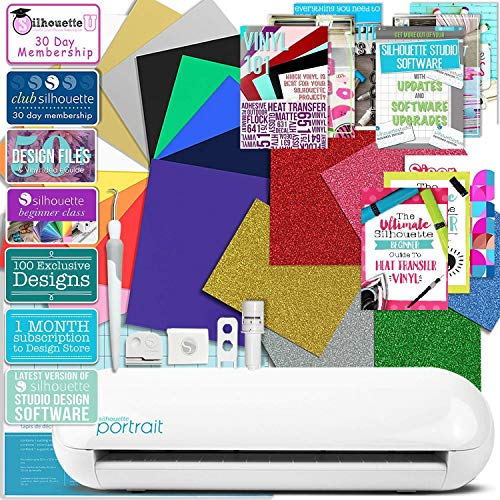 Silhouette Portrait 2 (Cameo Mini) Electronic Cutting Machine with Auto Adjusting Blade and Bluetooth, T-Shirt Bundle with Siser Heat Transfer, Guides, Swatch Book and More