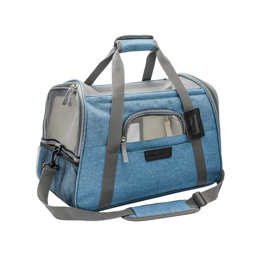 Airline Approved Pet Travel Carrier-Soft Sided Cat Carrier Portable with Fleece Padded Mat-Fits Under Airplane Seat-for Small Cat and Dog,Turquoise by Living Express