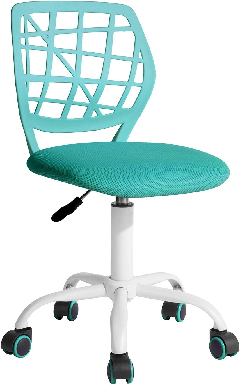 """FurnitureR Writing Task Chair 360 Swivel,Low Mid PP Mesh Back Fabric Seat, Height Adjustable, Rolling Castor,W15.7""""xD15.2""""x H29.5-34.2"""
