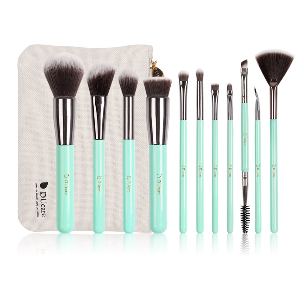 DUcare 11Pcs Makeup Brushes Mint Green Travel Set Synthetic Foundation Eyeshadow with Roll Cases