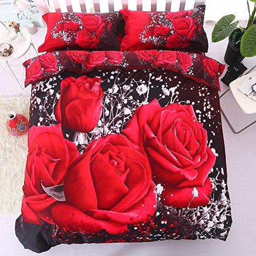 Alicemall 3D Rose Bedding Twin XL Big Red Rose Black Prints 4 Pieces Floral Bedding Sets, 100% Cotton Wedding Duvet Cover, Flat Sheet, Pillow Cases 4 PCS Bed Set (Twin - Sheet Big Red