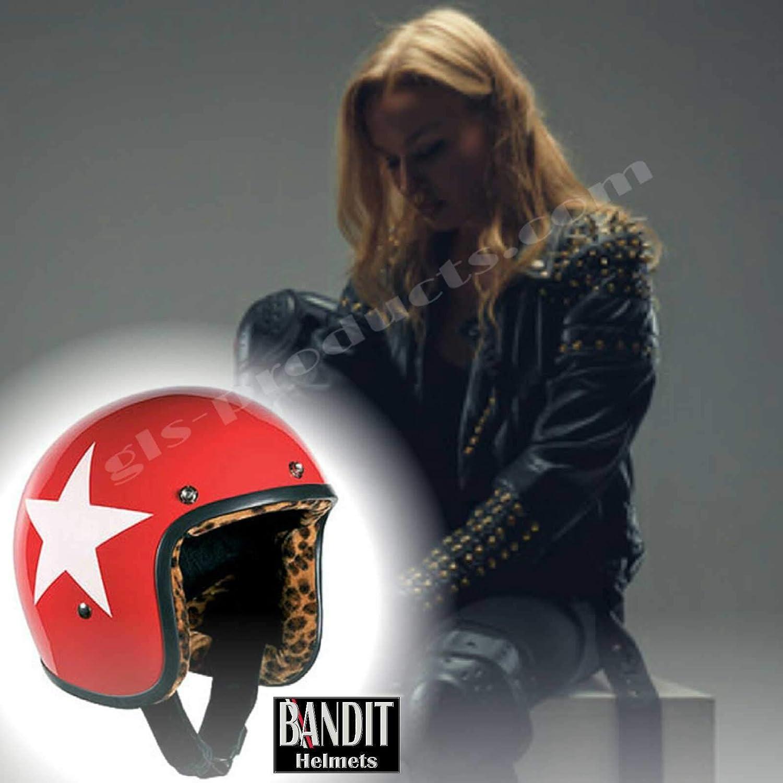 Casco con forro leopardo y cartel de sol Moto Bandit de ciclismo casco jet Star Red Leo de forro