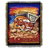 "Officially Licensed NFL San Francisco 49ers Home Field Advantage Woven Tapestry Throw Blanket, 48"" x 60"""