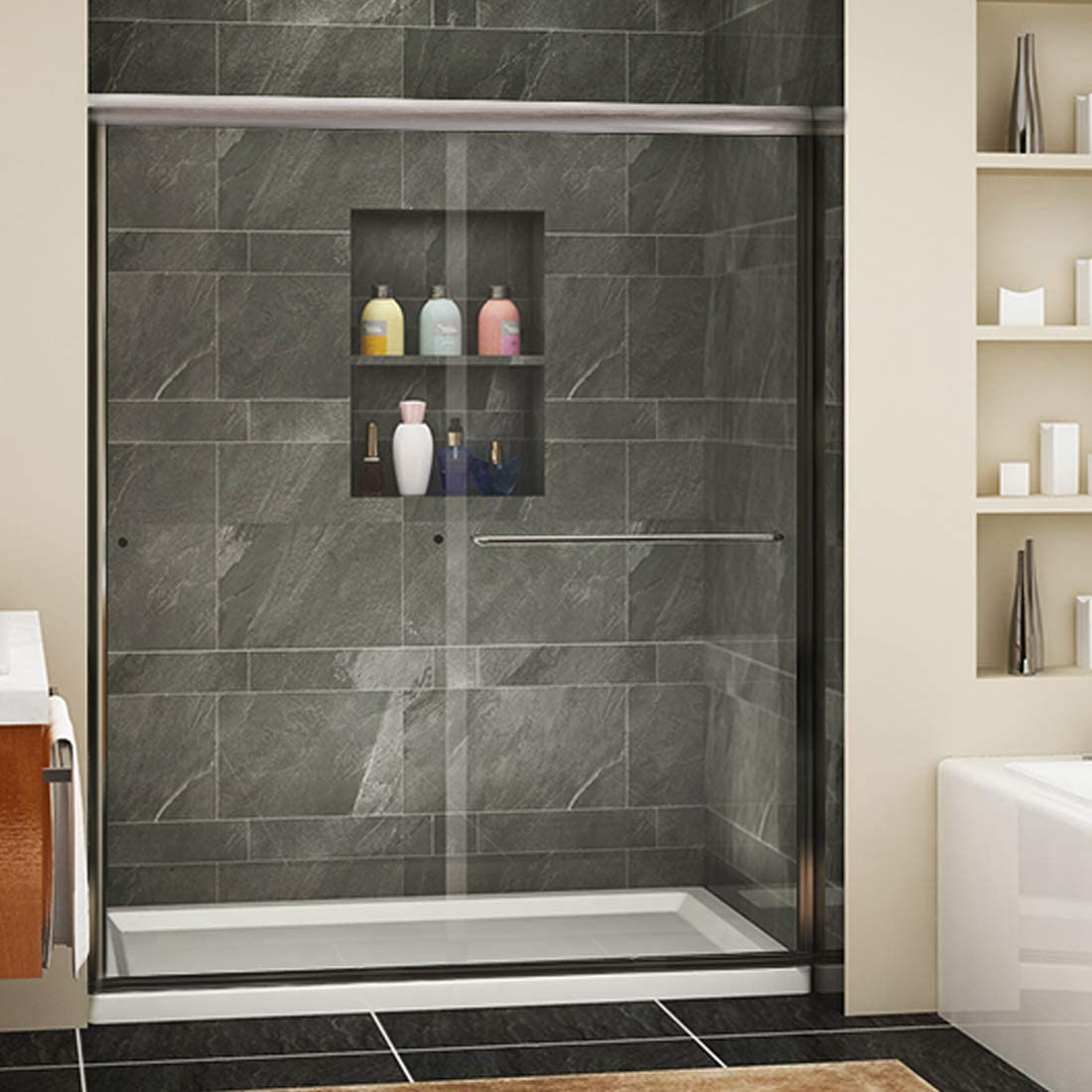 SUNNY SHOWER Framless Shower Door Double Sliding Design Bathroom Shower Enclosure 1 4 Clear Glass, Brushed Nickel Finish, 60 x 72