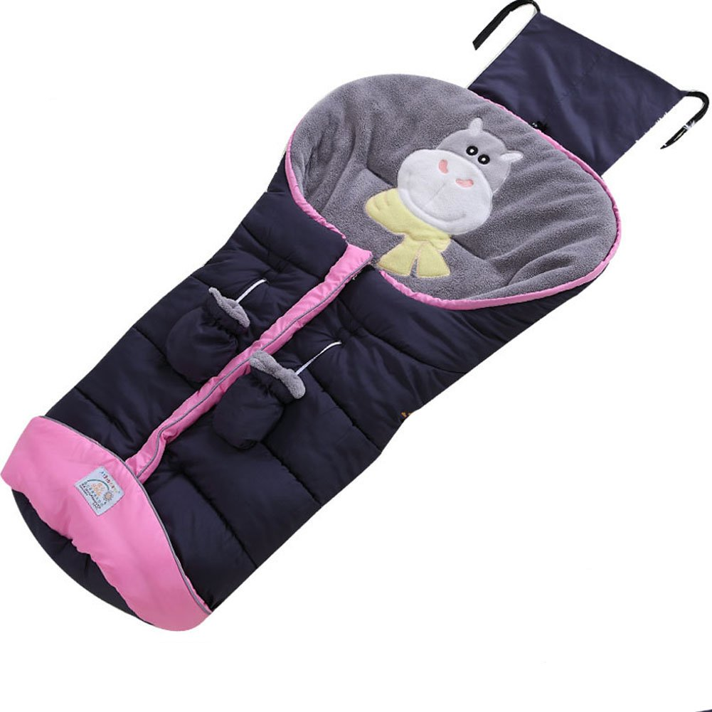 Fairy Baby Baby Stroller Bunting Bag with Gloves for 6-36 Months,Navy Blue Cow