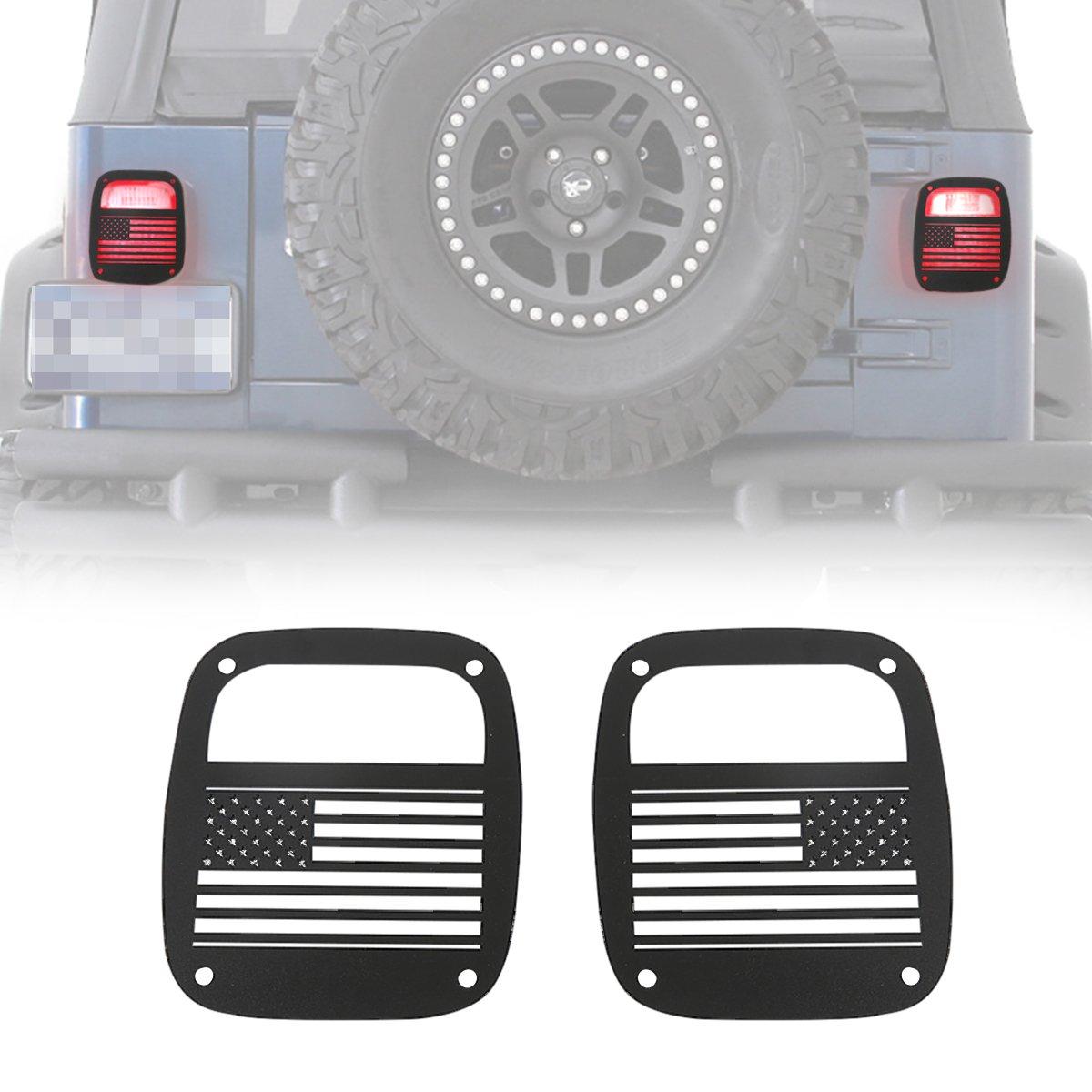 RT-TCZ Aluminum Black Rear Taillights Light Guard Tail Light Cover For 1997-2006 Jeep TJ Wrangler - Pair (USA Flag)