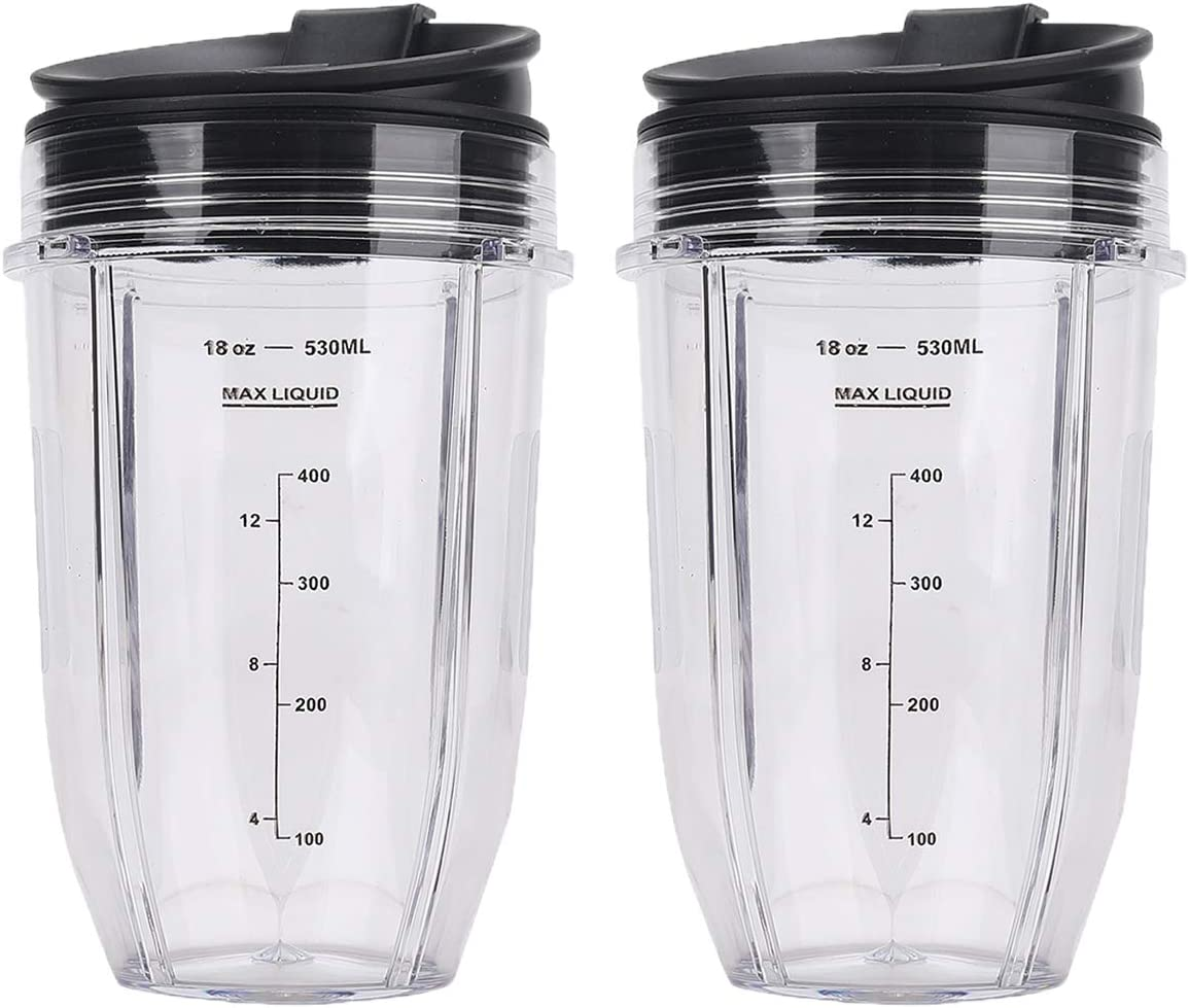 2 Pack 18 OZ Replacement Blender Cups with Sip N Seal Flip Lids Compatible with Nutri Ninja BL480 BL481 BL482 BL490 BL640 BL680 Auto-iQ 1000w Series and Duo Blenders