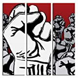 JP London 3 Panels At 16in by 48in Triptych 3 Huge Gallery Wrap Canvas Wall Art Fight the Power the Fist Grafitti At Overall 4 4 Feet LTCNV0044, Extra Large