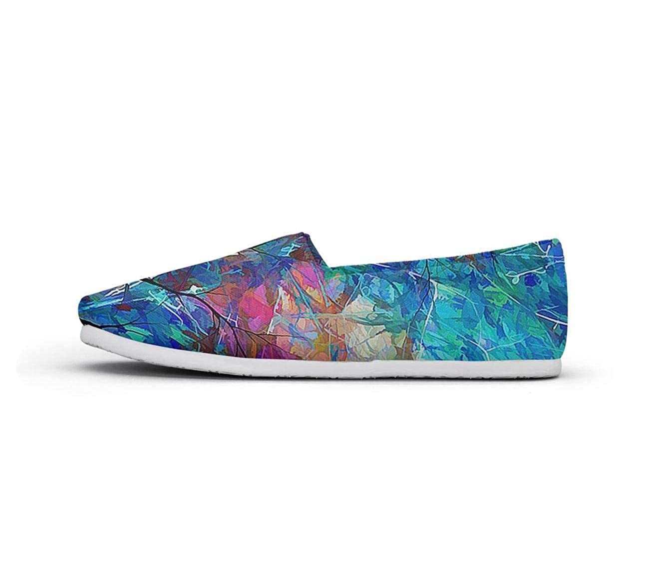 nkfbx Colorful Tree Fashion Flat Canva Shoes for Women Running
