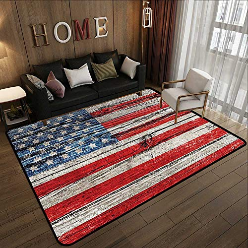 Rugs,American Flag USA,Painted Old Wooden Panel Wall Looking Freedom Symbol Print,LBlue Red 55'x 63' Baby Crawling Area Mats