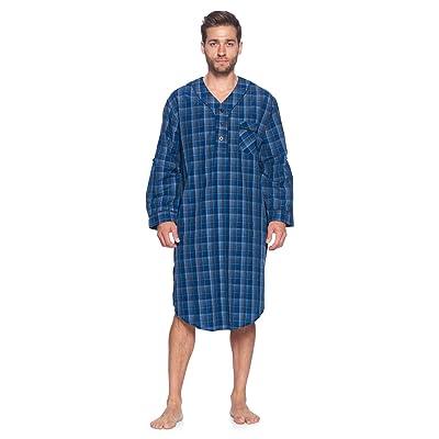 Ashford & Brooks Men's Long Nightshirt | Woven Plaid Henley Gown Sleep Shirt at Amazon Men's Clothing store